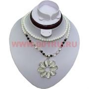 Колье-бусы (H-94) Серебристый цветок цена за упаковку из 12шт