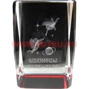 Кристалл «Куб Зодиак цветной» красный 6 см
