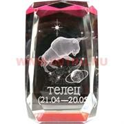 Кристалл «Куб Зодиак цветной» красный 10 см