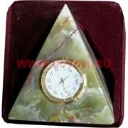 """Часы из оникса """"Пирамида"""" 10см в бархатной упаковке"""