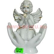 Ангелочек (KL-1249) фарфоровый 14 см с жемчужиной 48 шт/кор
