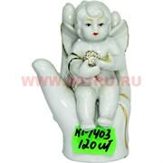 Ангелочек (KL-1403) фарфоровый 9 см с жемчужиной 120 шт/кор