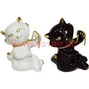 Котик из фарфора два цвета с цепочкой (цена за 1 шт)