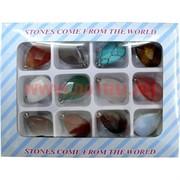 """Набор подвесок на шею """"овалы"""" из натуральных камней (12 шт)"""