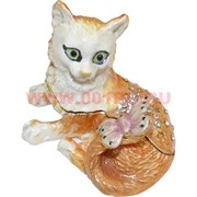 Шкатулка со стразами «Кошка с бабочкой»