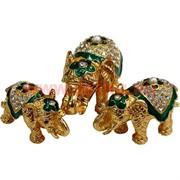 """Набор шкатулок """"Три слона"""" цвет зеленый"""