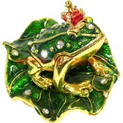 Шкатулка «Лягушка с короной на листике»