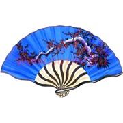 Веер (натуральный шелк, бамбук), рисунки и цвета в ассортименте