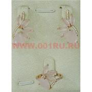 """Набор серьги и кольцо """"Канария"""" под розовый кварц размер 17-20"""