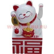 Котик Манэки-нэко белый 10,5 см на батарейках