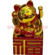 Котик Манэки-нэко золотой 10,5 см на батарейках