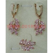"""Набор серьги и кольцо """"Севилья"""" под розовый кристалл размер 17-20"""