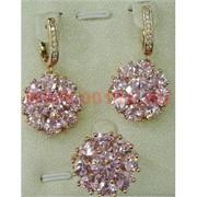"""Набор серьги и кольцо """"Марбелья"""" под розовый кристалл размер 17-20"""