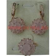 """Набор серьги и кольцо """"Марбелья"""" под розовый кварц размер 17-20"""