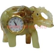 """Часы из оникса """"Слон"""" 8 см"""