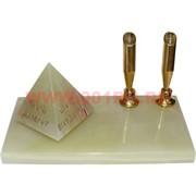 Подставка под 2 ручки с пирамидой с надписью