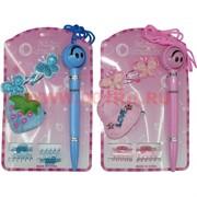 Набор детский с аксессуарами для волос и ручкой (CJ-004) цена за 12 шт