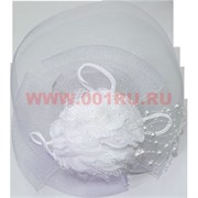 Сетка для волос с бантом и бусинами (обруч или зажим), цена за 12 шт