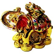 Жаба на слоне средняя под золото из полистоуна