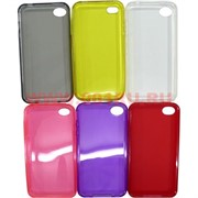 Чехол силиконовый прозрачный на iPhone 4, цвета в ассортименте