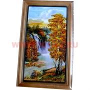 Картина из янтаря в простой темной рамке 14х23