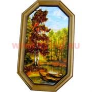 Картина из янтаря в простой темной рамке восьмигранная 14х23