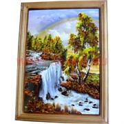 Картина из янтаря в простой темной рамке 18х24