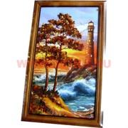 Картина из янтаря в простой темной рамке 17х28