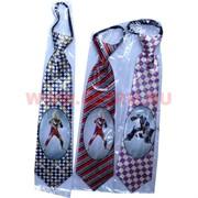 Прикол галстук короткий 6 рисунков, цена за 12 шт