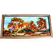 Картина из янтаря в простой темной рамке 16х32