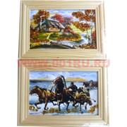 Картина из янтаря в простой светлой рамке 10х14