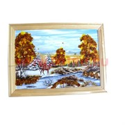 Картина из янтаря в простой светлой рамке 14х17