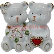 Мишки из фарфора со стразами (180) и сердечком малые