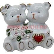 Мишки из фарфора со стразами (180A) и сердечком средние