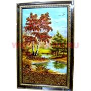 Картина с янтарем в рамке с золотым орнаментом 37х47
