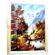 Картина из янтаря в простой светлой рамке 25х45