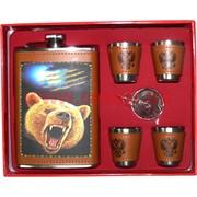 Набор Фляга 9 унций с медведем под кожу + 4 стаканчика 001-D