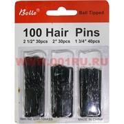 Шпильки металлические черные 100 шт 3 размера 12 наборов/уп