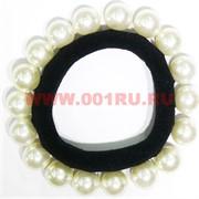 Резинка для волос (SDR-1393) с белыми бусинами 100 шт/уп
