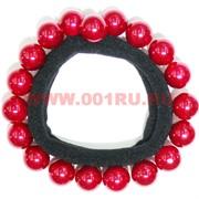 Резинка для волос (SDR-1393) с красными бусинами 100 шт/уп