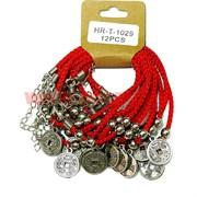 Браслет на руку «красная нитка с монетой» цена за 12 шт