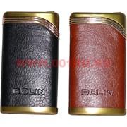 Зажигалка газовая турбо в коже 2 цвета