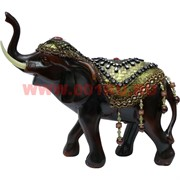 Слон 25 см из полистоуна с попоной и поднятым хоботом