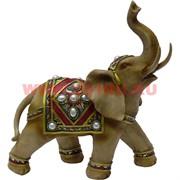 Слон светлый с поднятым хоботом 28 см из полистоуна