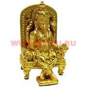 Ганеша 21 см на троне (35) под золото 21 см полистоун