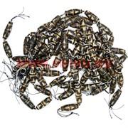 Бусины Дзи коричневый-белый цена за нитку из 8 штук