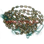 Бусины Дзи 3 глаза «цилиндры» цена за нитку из 12 шт