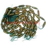 Бусины Дзи 9 глаз коричнево-зеленые цена за нитку из 8 шт