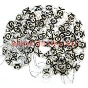 Бусины Дзи 3 глаза «черно-белый цилиндры» цена за нитку из 12 шт