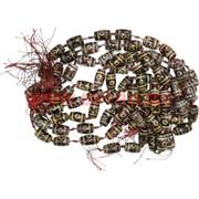 Бусины Дзи 11 шт «бочонки» цена за нитку